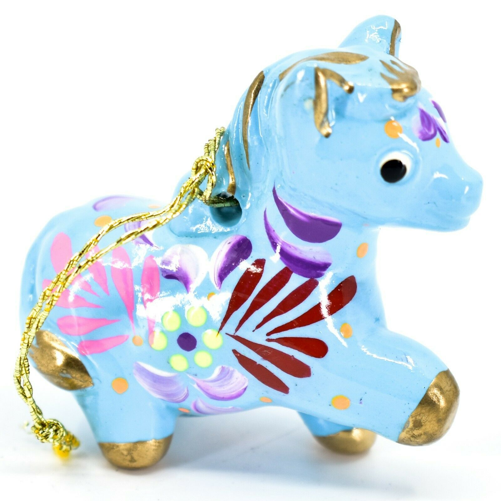 Handcrafted Painted Ceramic Blue Horse Country Farm Ornament Made Peru