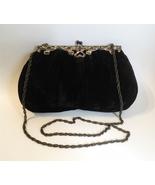 JR Black Velour Evening Shoulder Bag Purse Silver Ornate Metal Chain Vin... - $45.00