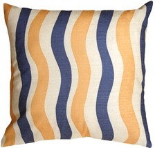 Pillow Decor - Country Stripes Blue and Yellow 20x20 Throw Pillow - £22.86 GBP