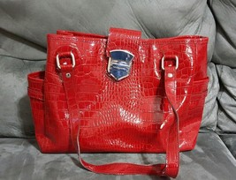 LIZ CLAIBORNE Purse Satchel Handbag Red Crco Embossed Patent Tote Wmns  - $18.79