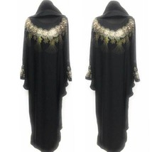 Luxury Women Black Batwing Abaya Jilbab With Stone Work - $58.49