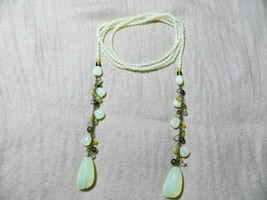 1950's Opalescent Vaseline? Pale Green Glass Beaded Wrap Necklace w/dang... - $49.99