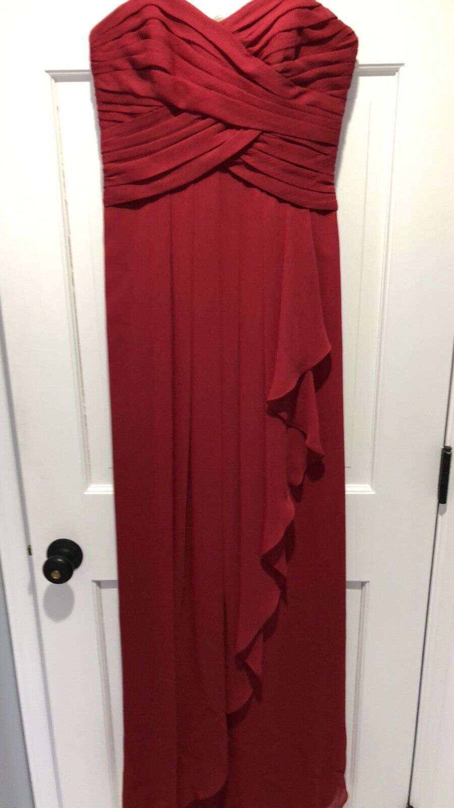 DAVIDS BRIDAL 4 Red Chiffon Ruched Bodice Ruffled Formal/Bridesmaid Dress