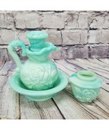Avon Victorian Pitcher & Powder Set Mint Green Marbled Floral Glass Vani... - €19,81 EUR