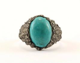 Vintage Large Oval Turquoise Ring 925 Sterling RG 2474 - $496,95 MXN