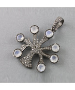 Genuine Moonstone Gemstone Tree of Life Pendant Diamond Solid Sterling S... - $158.16