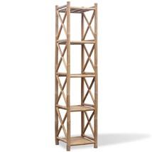 vidaXL Bamboo Shelf 5 Tiers Display Shelving Unit Rack Stand Organizer S... - $70.99