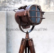 Handmade Modern Copper Floor Lamp Light Studio Searchlight With Wooden T... - $97.02