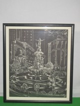 1966 Louis Spiegel Fountain Print Dated October 6 1871 - $52.42