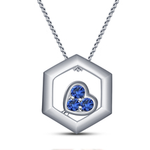 Octagon Shape Pendant With Chain 14k White GP 925 Silver Round Cut Blue Sapphire - $46.25