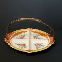 Vintage Lusterware Divided Plate Dish Wicker Handle Hand Paint Made in J... - $19.99
