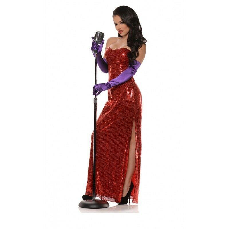 Underwraps Bomba Jessica Rabbit Rosso Adulto Donna Halloween Costume 29688