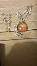 Silver Plated Glass Pendant Moon Necklace Combined Shipping - $2.75