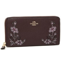 COACH ACCORDION ZIP WALLET IN PEBBLE LEATHER W FLORAL EMBROIDERY F11885 - $84.99