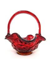 "Vintage Fenton Art Glass Basket Water Lily Pattern Red Amberina 7 1/4"" Tall - $44.55"