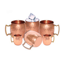 COPPER MUG WINE BEER COCKTAIL VODKA WINE CUP JUICE WATER MUG VESSEL HAM... - ₹3,064.18 INR