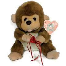 NWT Kuddle Me Toys Valentine Brown Monkey Plush with Flower Stuffed Anim... - $26.42