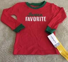 NEW Carters Boys Red Green Santa's Favorite Snug Long Sleeve Pajamas Shirt 2T - $6.43