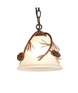 Rustic Pine Cone & Needles Mini Pendant Light Cabin Cottage Lodge Lighting - $100.94 CAD
