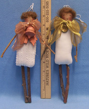 Pair Hand Crafted Rustic Primitive People Doll Ornaments Plush Country F... - $9.85