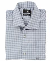 Calvin Klein Mens LS Slim Fit Stretch Dress Shirt, Blue Check, M 15-15.5 34/35 - $24.74