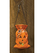 Hanging Ceramic LED Pumpkin Lantern Halloween Porch Party Holiday  - $26.00