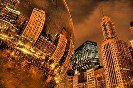 "Chicago Bean ""Sky Gate""  Rainny Night Close-Up     2.5 x 3.5  Fridge MAGNET - $3.99"