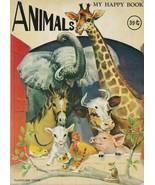 Animals My Happy Book Vintage Board Book Doeisha Japan - $19.79
