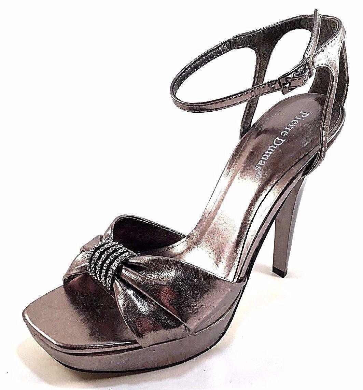 f83e8dde774b Pierre Dumas Nanette-4 Pewter High Heel Platform Ankle Strap Dressy Sandals  -  30.60