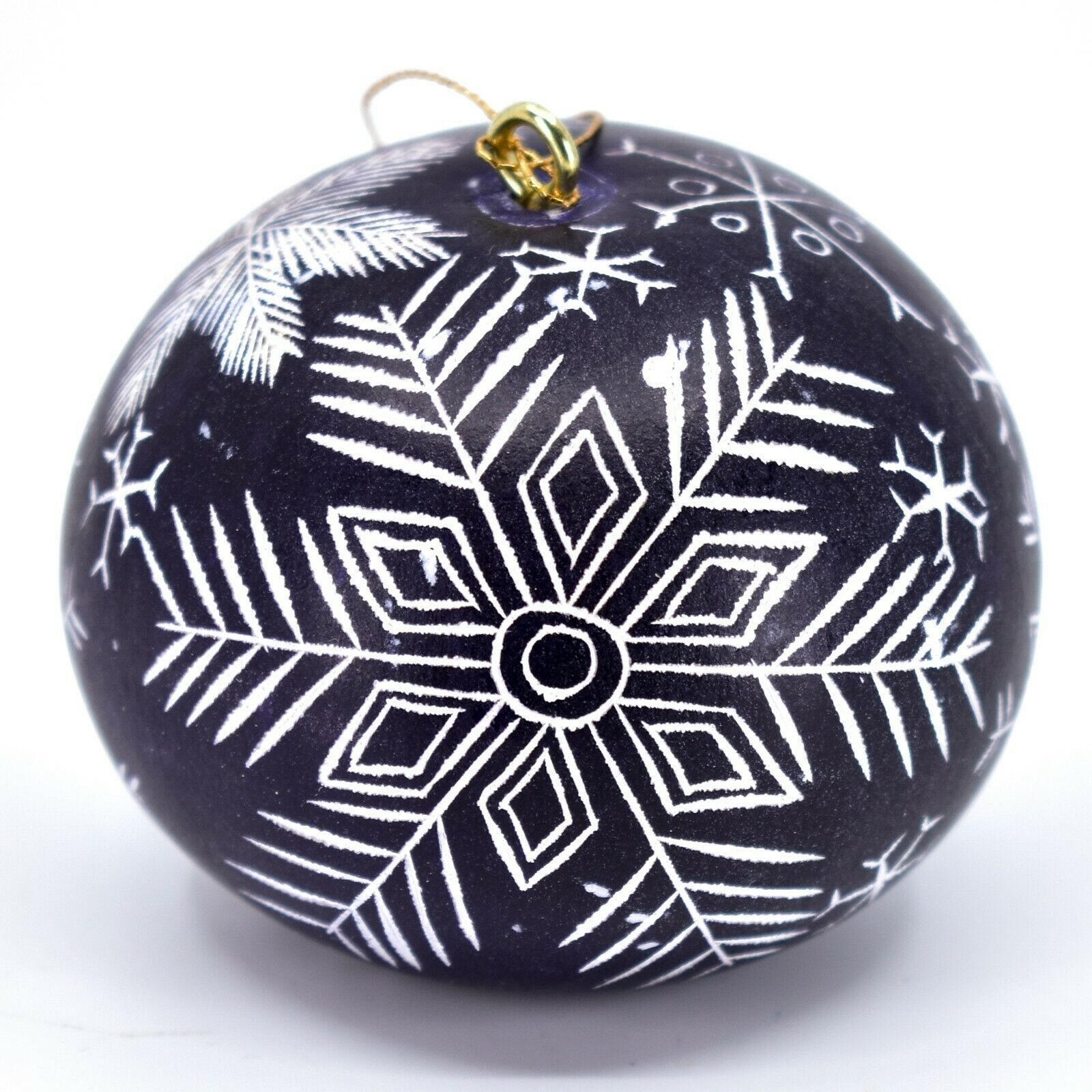 Handcrafted Carved Gourd Art Winter Snowflake Ornament Made in Peru
