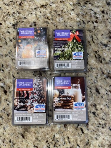 Primary image for Lot of 4 Better Homes & Gardens Scented Wax Cubes Holiday Scents Limited Ed