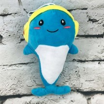 Whale Dolphin Plush Blue Wearing Headphones Hanging Stuffed Animal Soft Toy - $7.91