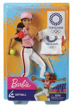 Barbie TOKYO 2020 Olympics SOFTBALL Doll Gold Medal Glove Bat Hat GJL77 - £35.08 GBP