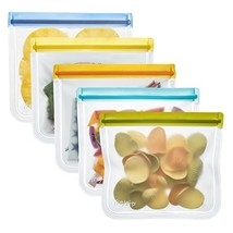 rezip Lay-Flat Lunch Leakproof Reusable Storage Bag 5-Pack Multi Color