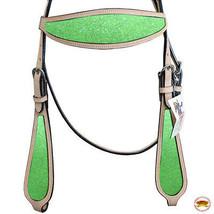 Hilason Western Horse Headstall Bridle American Leather Tan Lime Green U-G-HS - $64.30