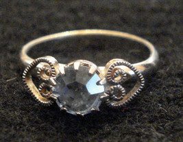 RING BLUE ICE Rhinestone March Birthstone with Filigree Hearts ✿ 1970s VTG  - $19.76