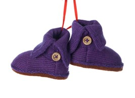"Kurt Adler 4"" Tween Christmas Purple Knit Boots Beige Buttons Winter Orn... - $11.62"