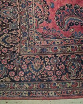 Red Sarouk Persian Wool Handmade Rug 11' x 18' Vivid Red Detailed Original Rug image 2