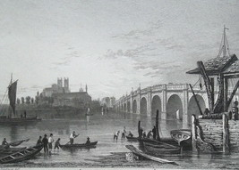 ENGLAND Westminster Bridge Thames River - c1835 Antique Print Ornamental... - $25.20