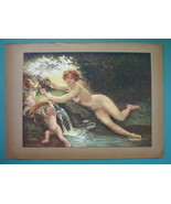 NUDE Nymph Cupids at Water Spring - COLOR Typogravure Print - $22.95