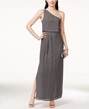 Adrianna Papell Dress Sz 4 Graphite Grey One Shoulder Chiffon Drape Par... - $97.90