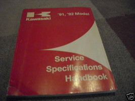1991 1992 Kawasaki Service Specifications Handbook Manual FACTORY OEM WORN - $12.82
