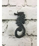 Seahorse Decorative Hook Cast Iron Green Tinted Dark Bathroom Decor - $15.84