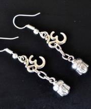 Silver Earrings, Buddha Earrings, Om Earrings, Omm, Umm, Drop Earrings, ... - $9.99