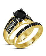 Engagement Bridal Ladies Jewelry Ring Set 925 Sterling Silver Black CZ  - $71.28