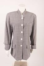 W by Worth Women's Blazer Jacket sz 12 Gray White Plaid 100% Pure Silk V... - $29.69
