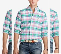 Polo Ralph Lauren Men's Plaid Oxford Shirt , Green/Pink, Size S, MSRP $89.5 - $49.49