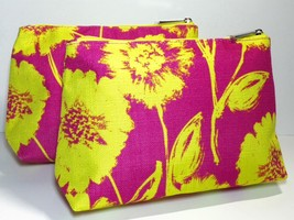 2pc Clinique Makeup Bags (made with canvas like fabric, pink & yellow) - $3.98