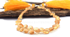 100% Natural Citrine Heart Shape Beads 5 mm, 6 Inches Stand Heart Shape ... - $20.00