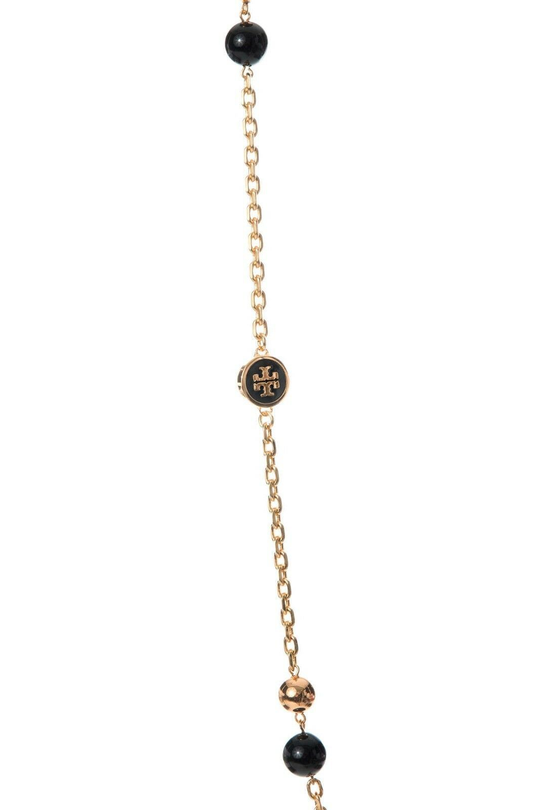 Auth NEW Stunning Tory Burch Lacquered Logo Convertible Rosary Necklace Black